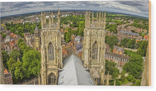 York From York Minster Tower Wood Print