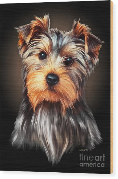 Yorkie Portrait By Spano Wood Print