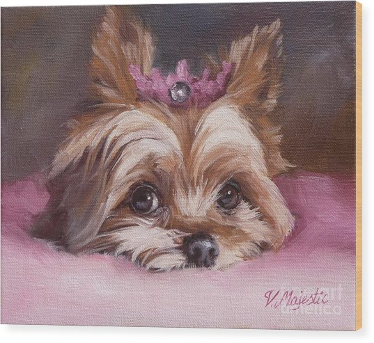 Yorkshire Terrier Princess In Pink Wood Print
