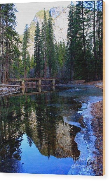 Yosemite Bridge Reflections Wood Print