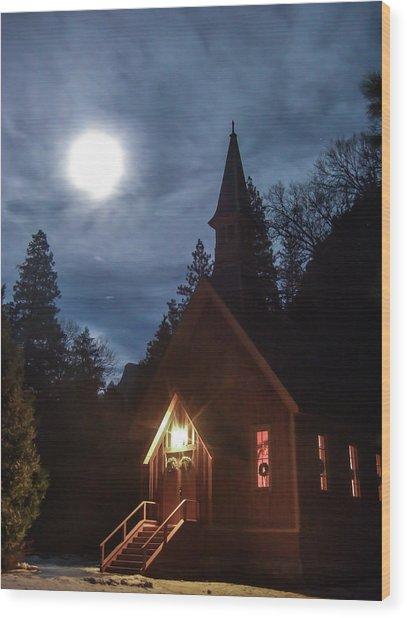 Yosemite Chapel Under A Full Moon Wood Print