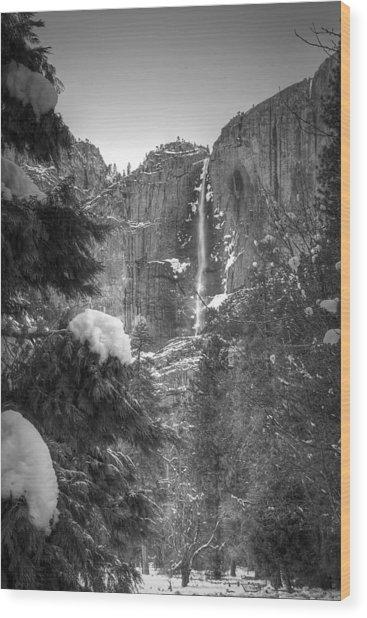 Yosemite Falls In Winter Wood Print