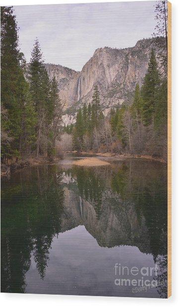 Yosemite Falls Reflection Wood Print
