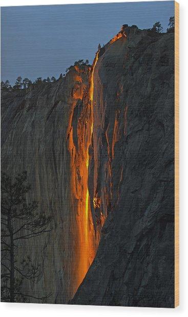 Yosemite Horsetail Falls Wood Print