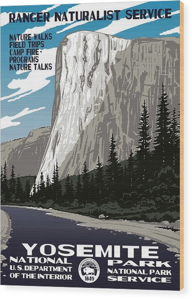 Yosemite National Park Vintage Poster 2 Wood Print