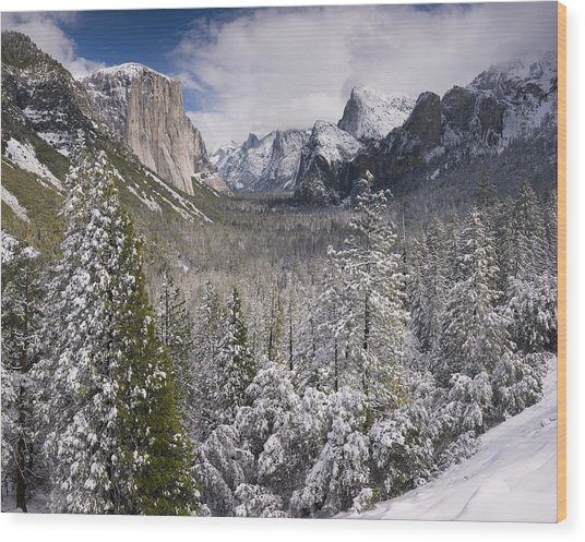 Yosemite Valley In Winter Wood Print by Richard Berry