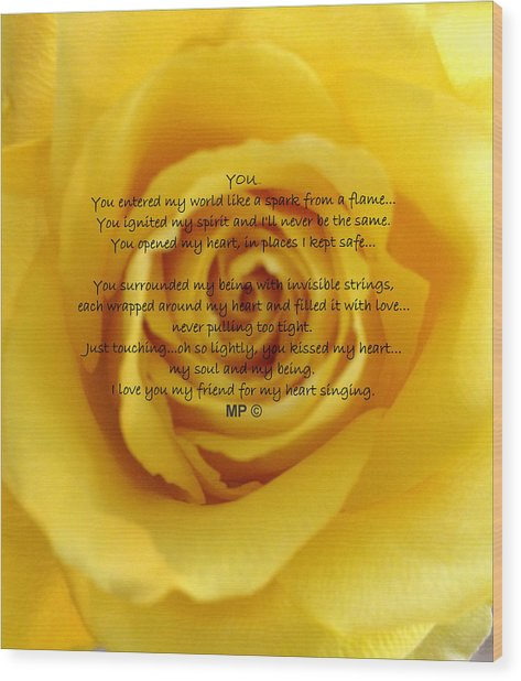 You Poem On Yellow Rose Wood Print