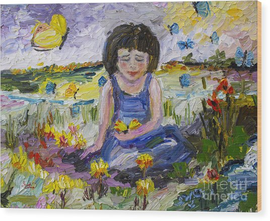 You Will Find Me By The Brook Where The Butterflies Live 2 Wood Print by Ginette Callaway
