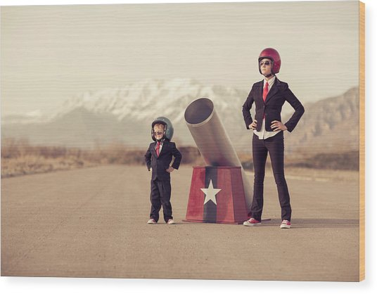 Young Boy And Woman Business Team With Wood Print by Richvintage