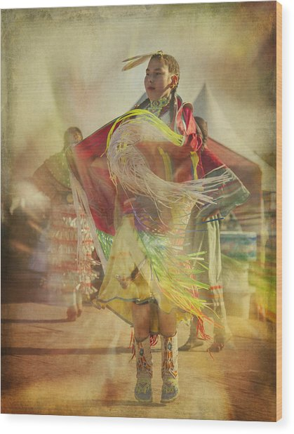 Young Canadian Aboriginal Dancer Wood Print