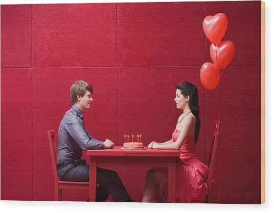 Young Couple With Cake Wood Print by Image Source