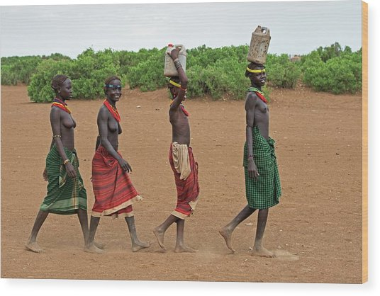 Young Dassenech Girls Carrying Water Wood Print