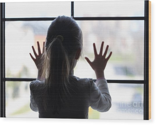 Young Girl At Window Wood Print