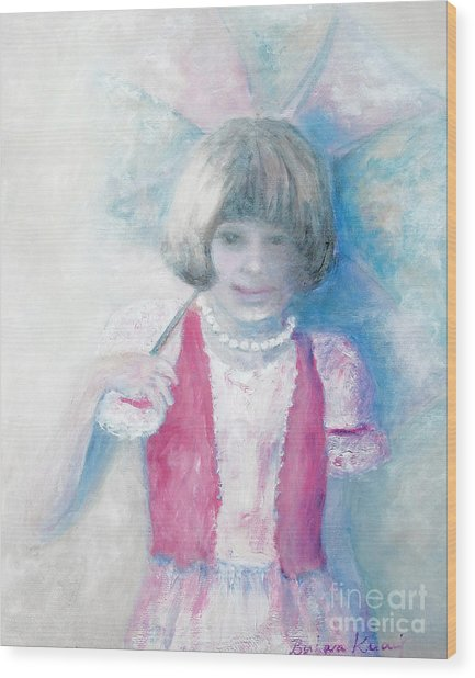 Young Girl With Umbrella Wood Print