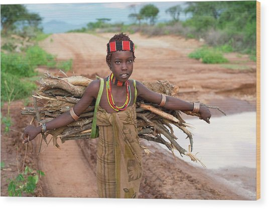 Young Hamar Girl Collecting Fire Wood Wood Print