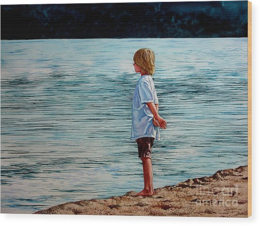 Young Lad By The Shore Wood Print