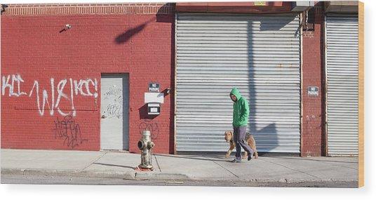 Young Man Walks Dog Wood Print