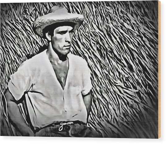 Young Man With Straw Hat Wood Print