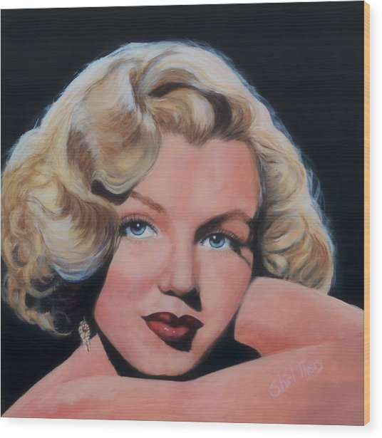 Young Marilyn Wood Print by Shirl Theis