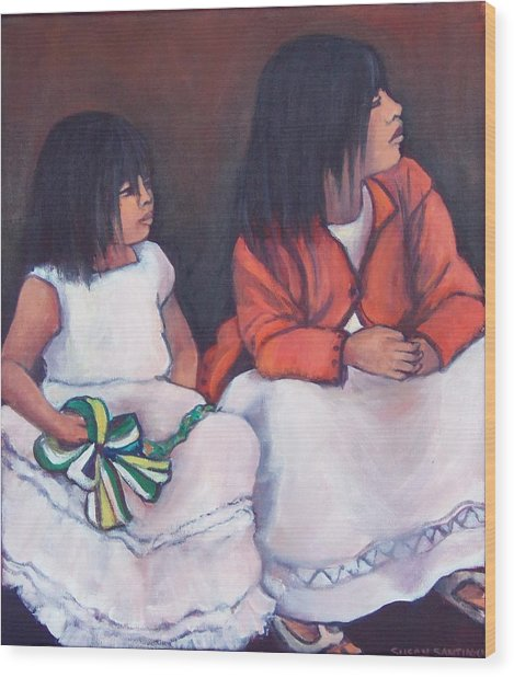 Young Mexican Girls At The Independence Parade  Wood Print