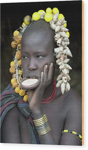 Young Mursi Girl With Lip Plate Inserted Wood Print