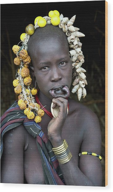 Young Mursi Girl Without Lip Plate Wood Print