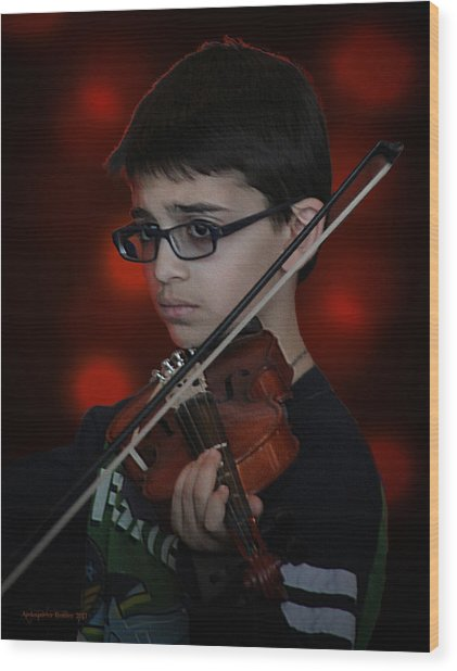 Young Musician Impression # 3 Wood Print