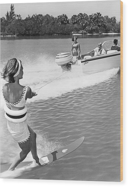 Young Woman Slalom Water Skis Wood Print