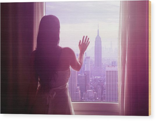 Young Woman With Hand On Window And New Wood Print by Flavia Morlachetti