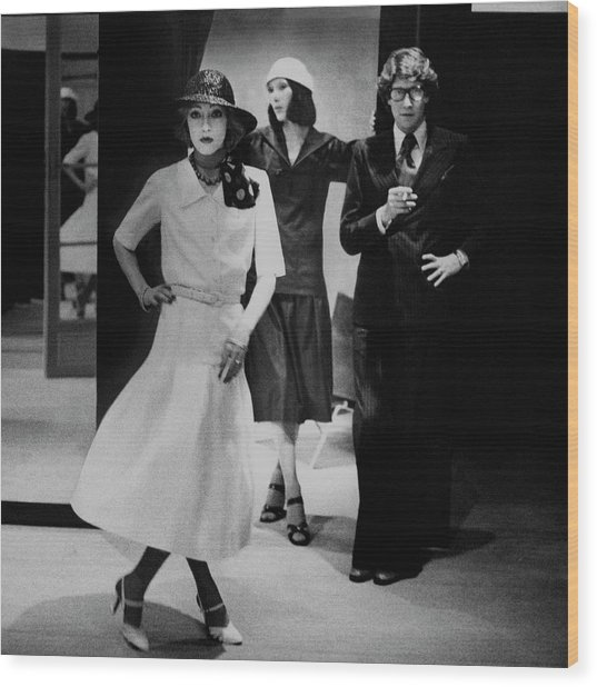 Yves Saint Lauren With Two Of His Assistants Wood Print