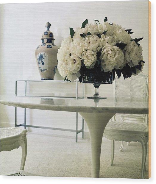 Yves Saint Laurent's Dining Room Wood Print by Horst P. Horst