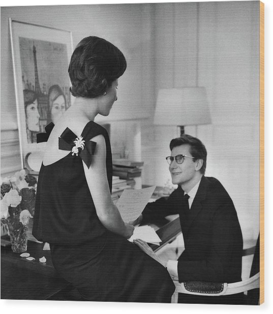 Yves St. Laurent With His Mother Wood Print