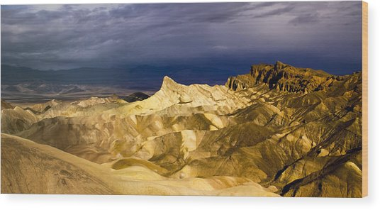 Zabriske Point Panorama 03 Wood Print