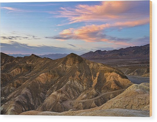 Zabriskie Point Sunset Wood Print