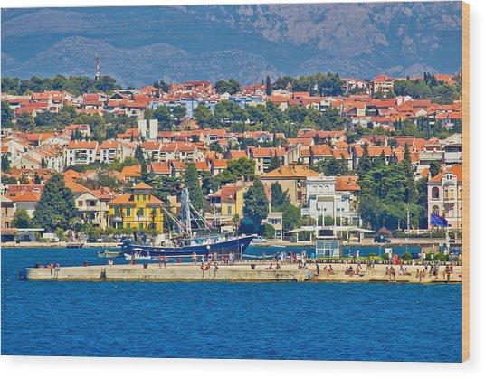 Zadar Waterfront Sea Organs View Wood Print
