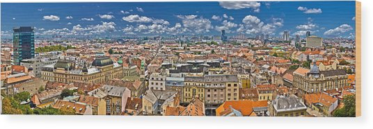 Zagreb Lower Town Colorful Panoramic View Wood Print