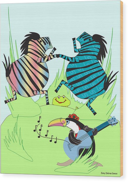 Zany Zebras Dance Wood Print by Chris Morningforest