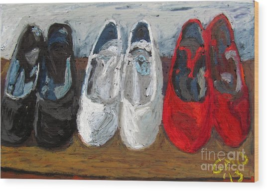 Zapatos De Flamenco Wood Print by Greg Mason Burns