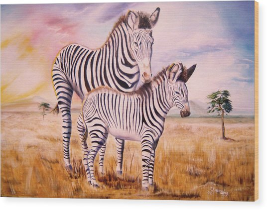 Zebra And Foal Wood Print