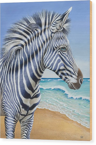 Zebra By The Sea Wood Print