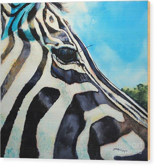 Zebra Eye Wood Print by Tracy Rose Moyers