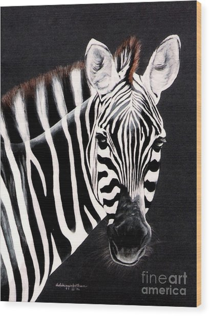 Zebra Facing Right Wood Print