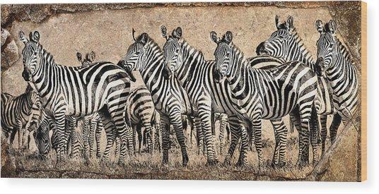 Zebra Herd Rock Texture Blend Wood Print