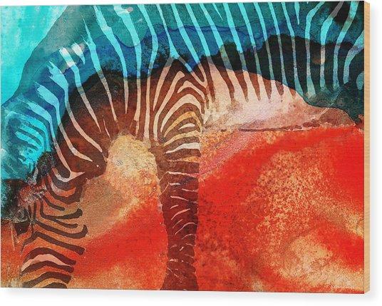 Zebra Love - Art By Sharon Cummings Wood Print
