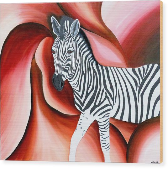 Zebra - Oil Painting Wood Print by Rejeena Niaz