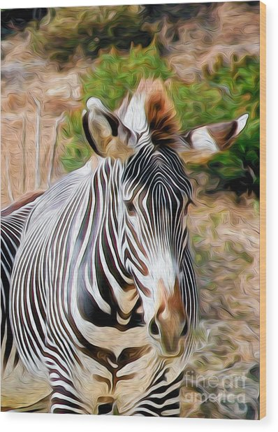 Wood Print featuring the digital art Zebra Rendition I by Kenneth Montgomery