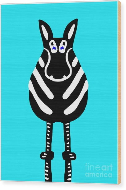 Zebra - The Front View Wood Print