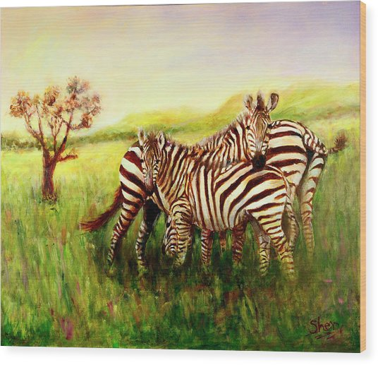 Zebras At Ngorongoro Crater Wood Print