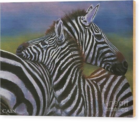 Zebras In Love Giclee Print Wood Print