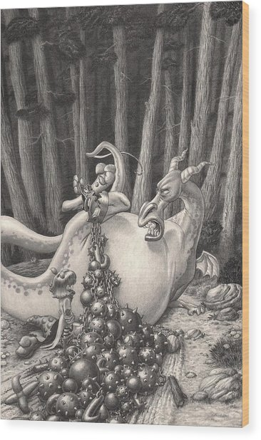 Zelma And The Not-quite-a-dragon Wood Print